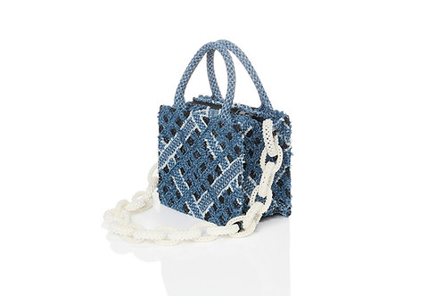 LARENCE AND CHICO Handwoven Denim on Lace Bag Pearl Chain - Small Square Tot