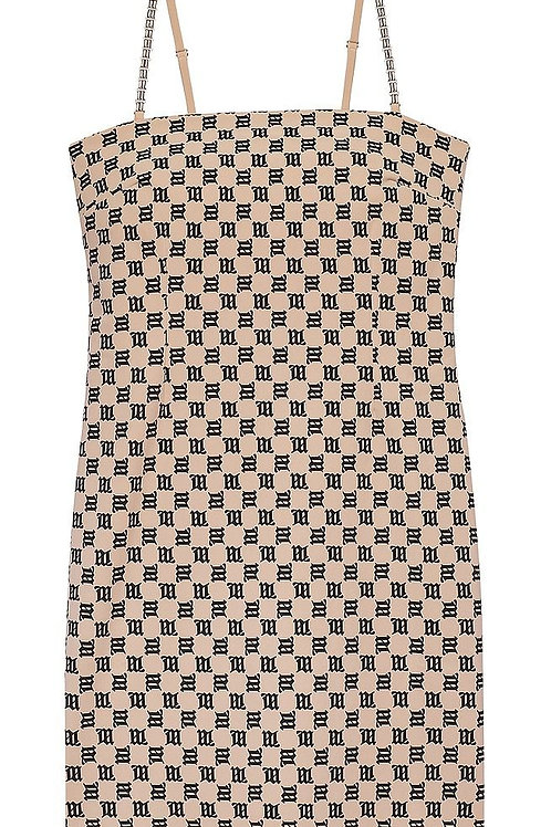 MISBHV Monogram Mini Dress Beige