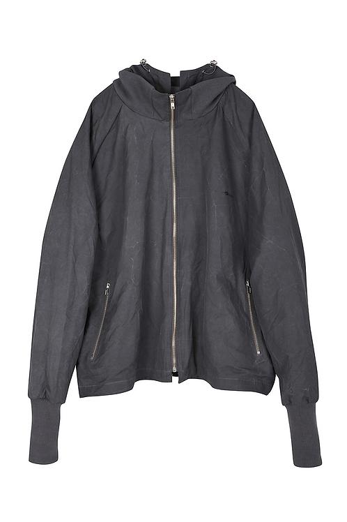 Extended Rib Cuffs Hood Zip Jacket