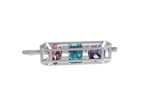 51 E JOHN CONSTRAINT COLLECTION 3 Diamond Hairclip - pink purple blue