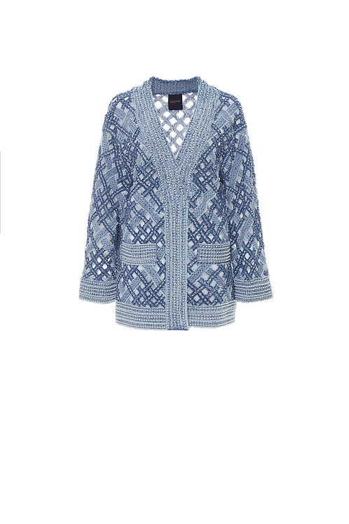 LAURENCE AND CHICO Hand Woven Denim on Lace Cardigan
