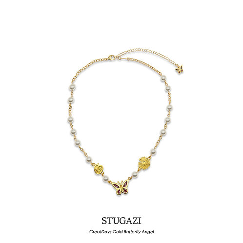 STUGAZI Great Days Butterfly Gold Angel Pearl Necklace