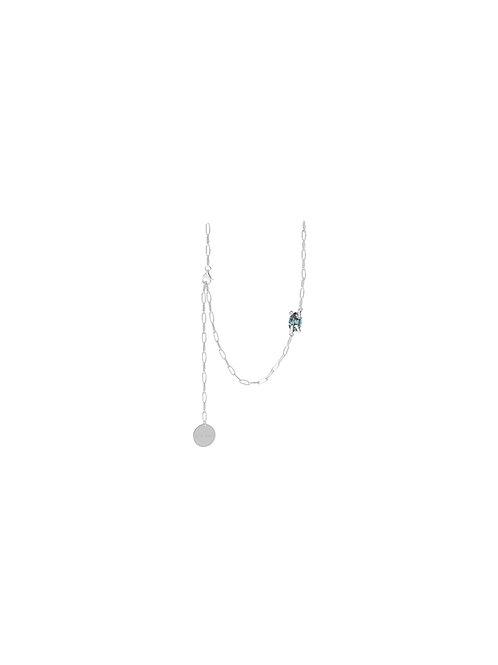 51 E JOHN Deconstruction Colletion Ellipse Stone Twisted Prongs Necklace 032