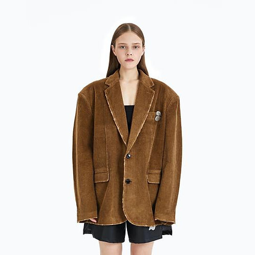 ANN ANDLEMAN Beige Corduroy Oversize Jacket