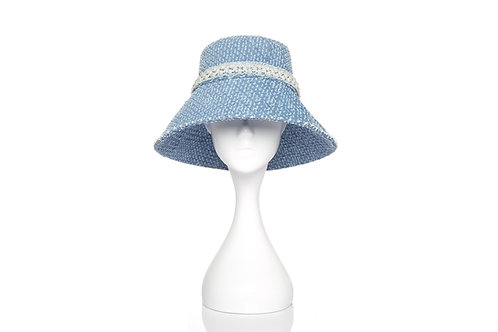 LAURENCE AND CHICO Denim Bucket Hat with Pearl Embellishments - Long Brim