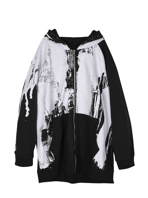 Oversized Full Printed Flow Painted Zip Hoodie