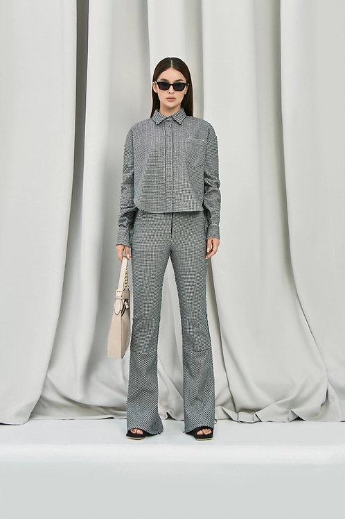 ANN ANDELMAN Black White Houndstooth Short Jacket