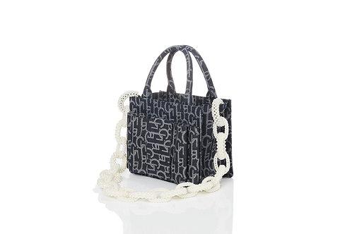 Bowtie Laulau Chichi Jacquard Bag Pearl Chain -  Small Square Tote