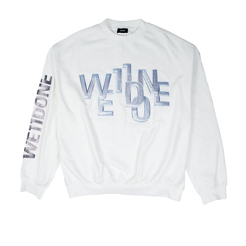 WE11DONE 3D Logo Oversize Crewneck White