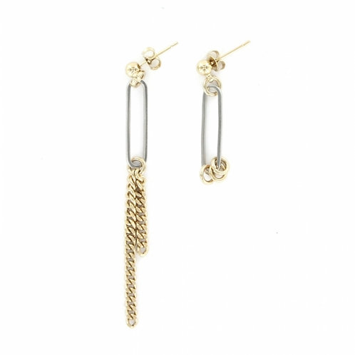 JUSTINE CLENQUET Sinead Earrings - Palladium and Pale gold
