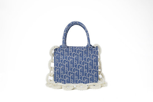 LAURENCE AND CHICO Laulau Chichi Jacquard Bag Pearl Chain - Small Square Tote