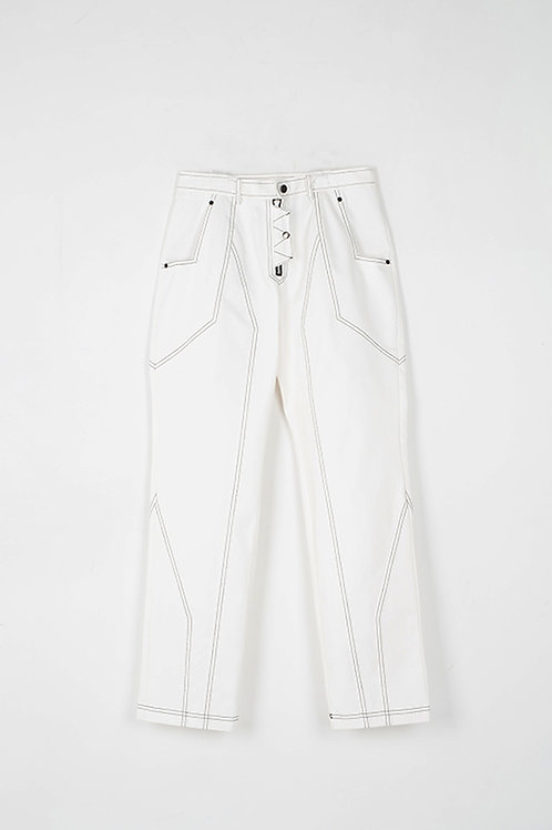 51 PERCENT Paneled Pants White