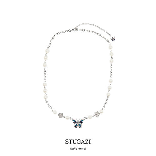 STUGAZI Butterfly White/Black Rose Angel Silver Necklace
