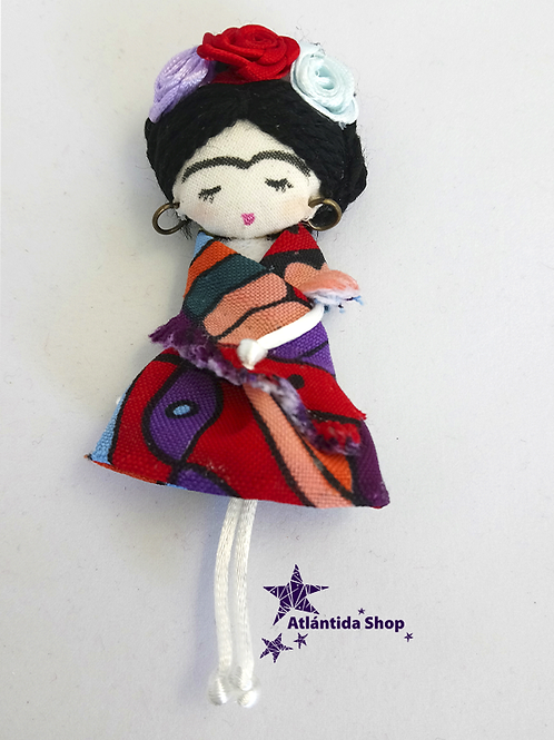 BROCHE FRIDA HECHO A MANO IMPERDIBLE