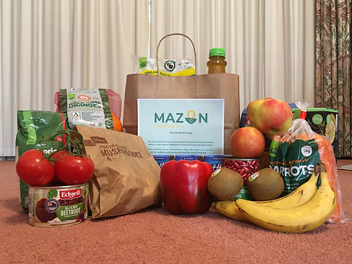 Virtual MazonBag filled with non-perishable items and fresh produce