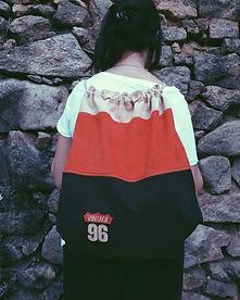 mochila tela forrada con bolsillo con cremallera