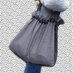 bolso de tela grande forrado y con bolsillos