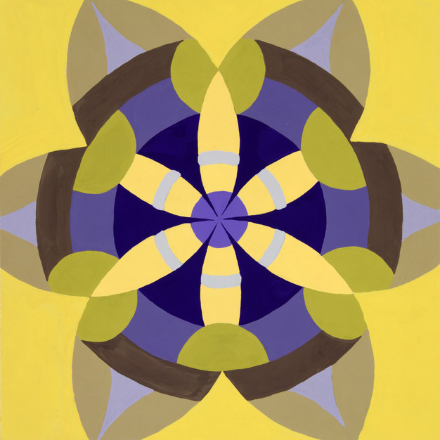 Passion Mandala in Yellow and Violet