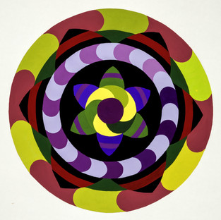 Sacral Chakra in yellow, violet, red and green