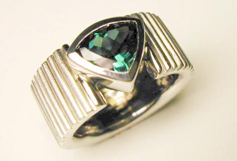 Aurealis trilliant cut tourmaline ring