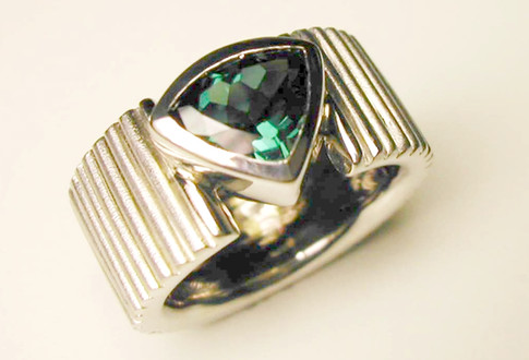 Aurealis trilliant cut tourmaline ring