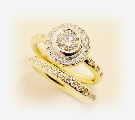Diamond halo wedding set