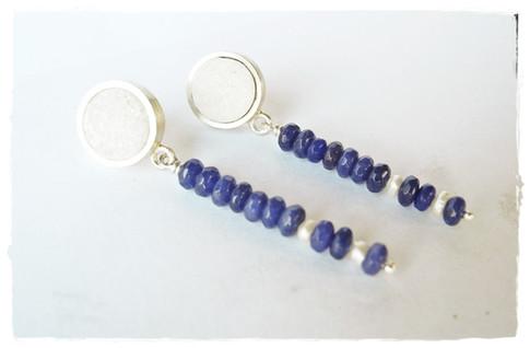 Aurealis Druzy Quartz & Sapphire Earrings