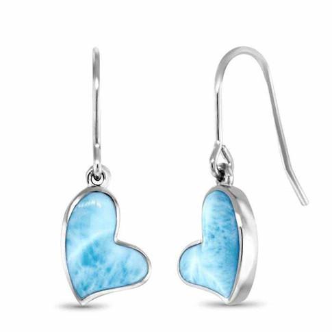 Larimar Floating Heart Earrings
