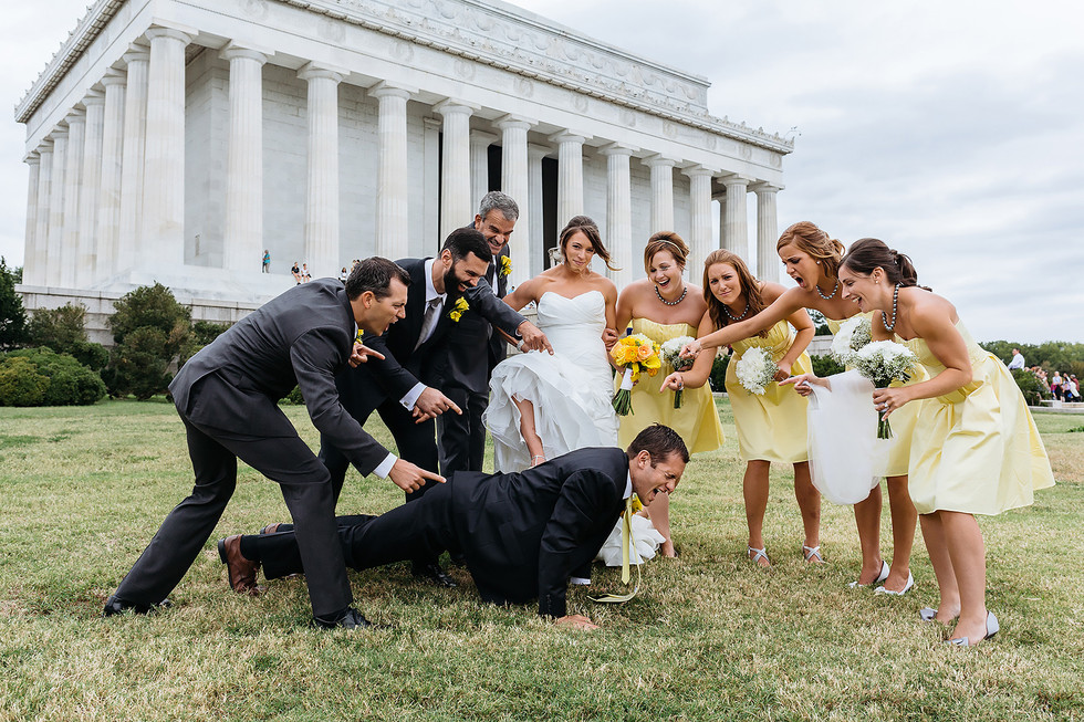 Crossfit Lincoln Memorial Bridal Party Photo
