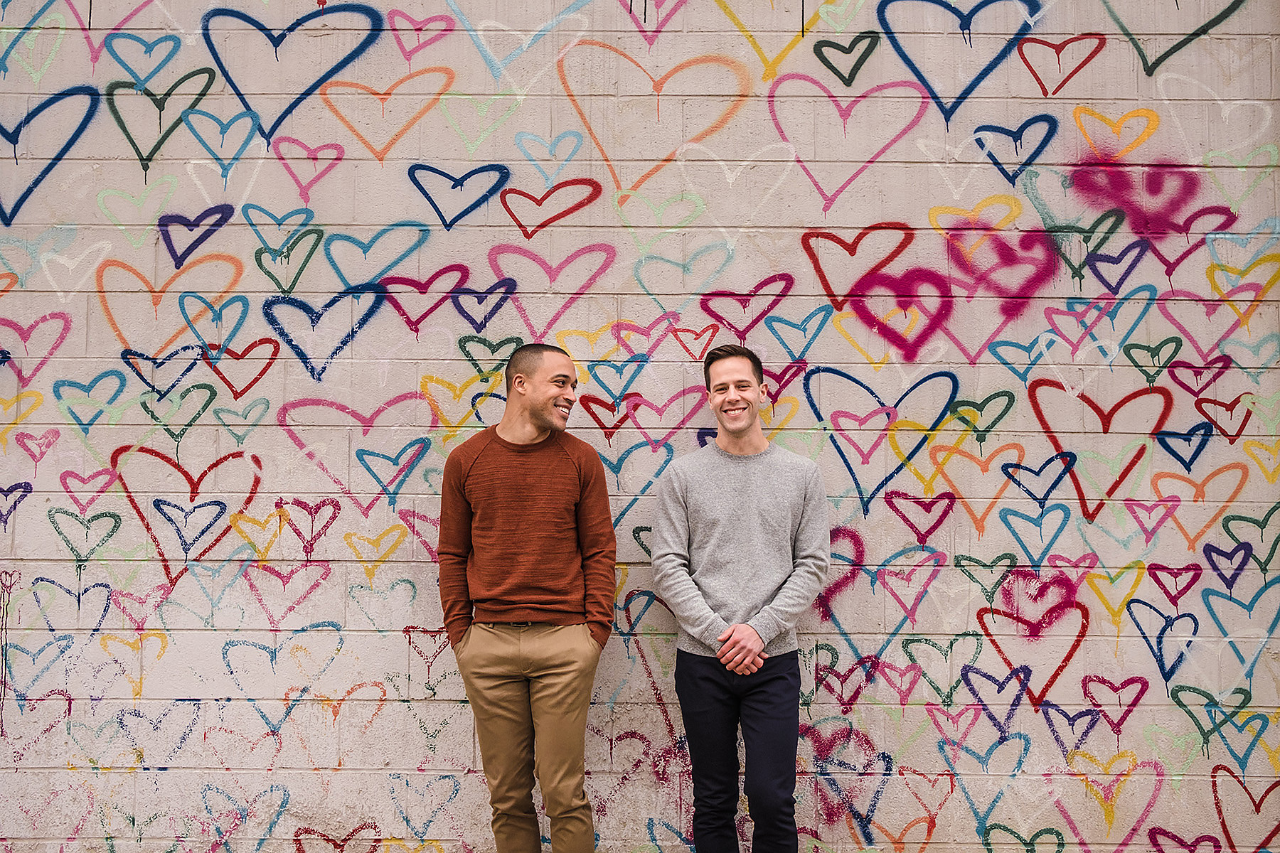 Heart Wall Engagement Photography