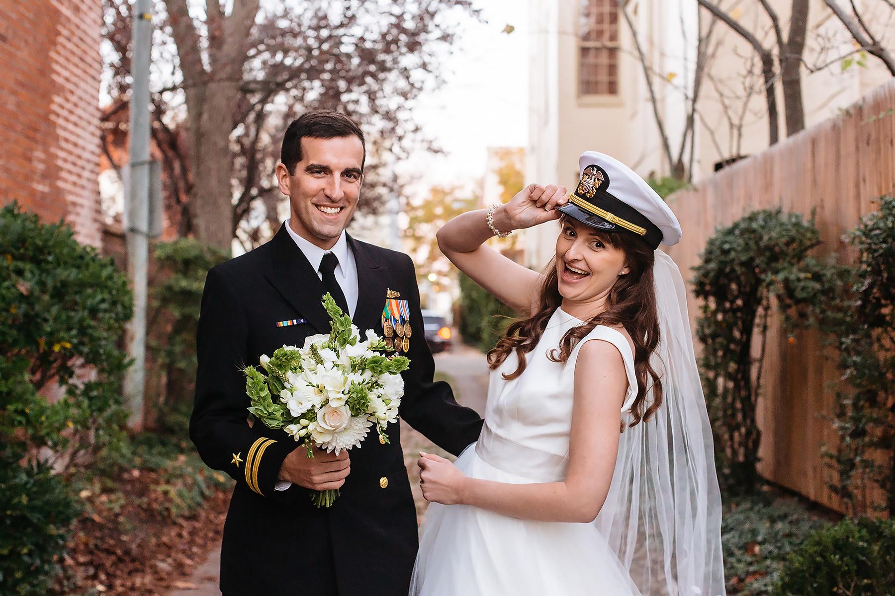 Bride & Groom Navy Portrait