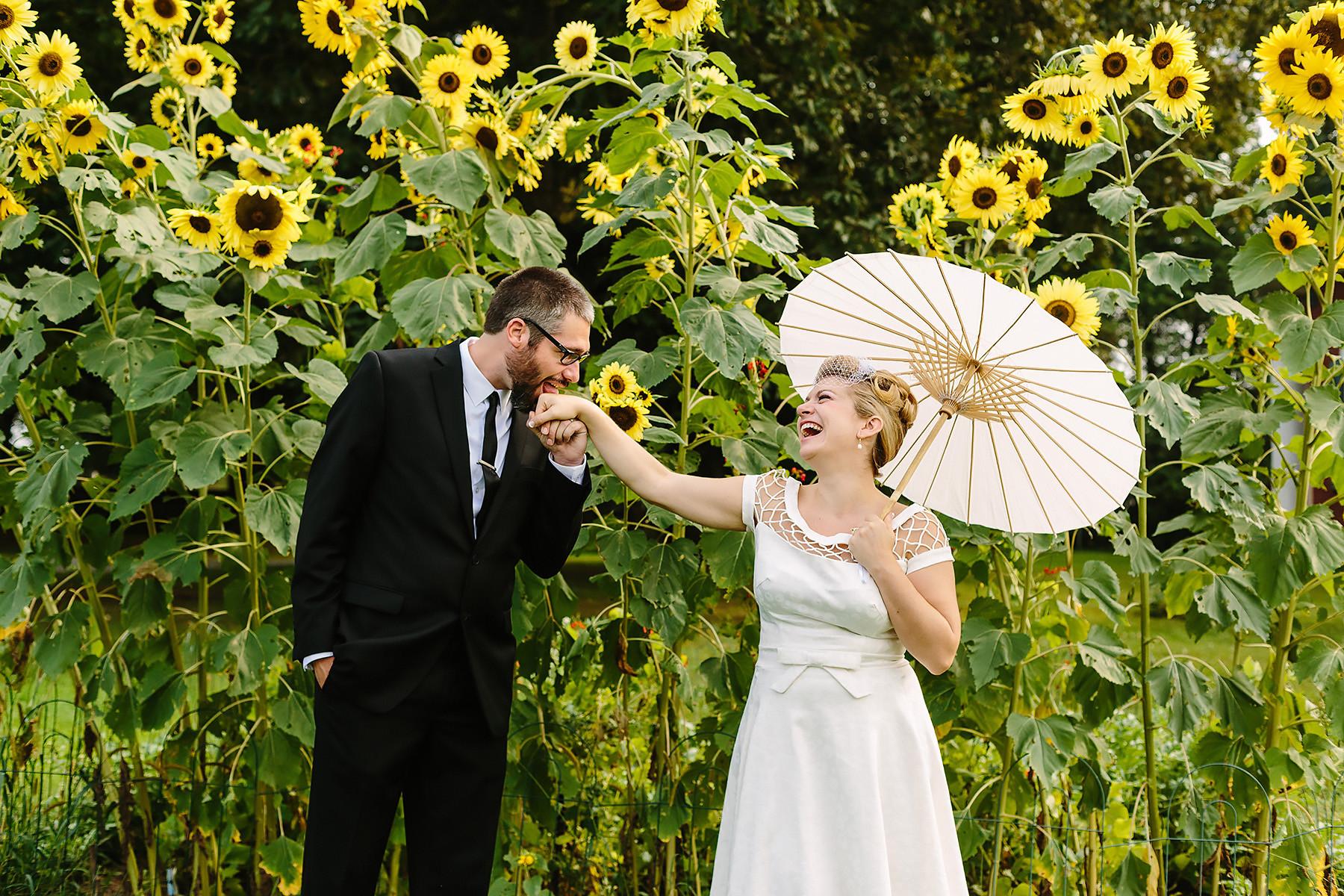 Sunflower Bride & Groom Portrait