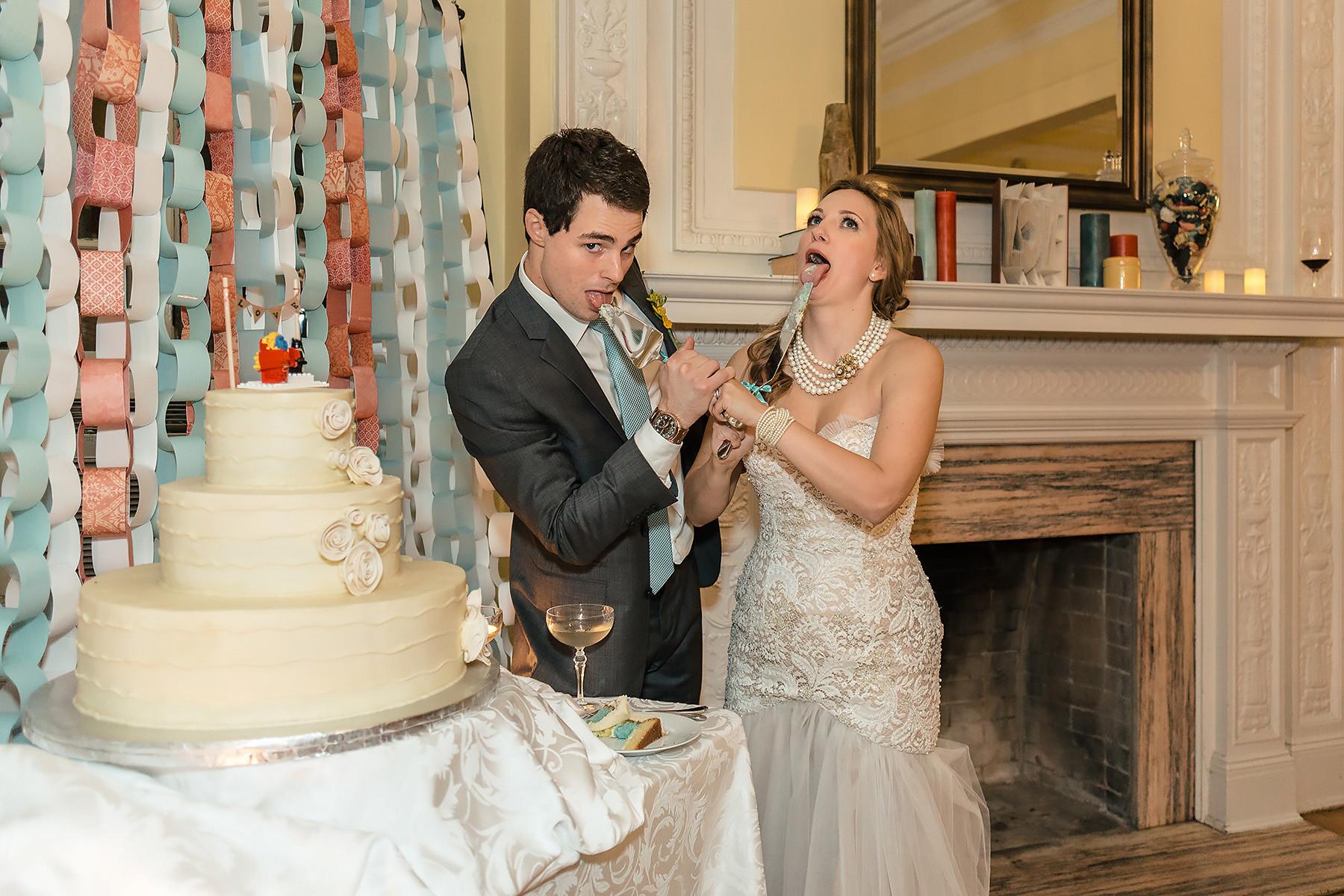 Fun Couple Cutting the Cake