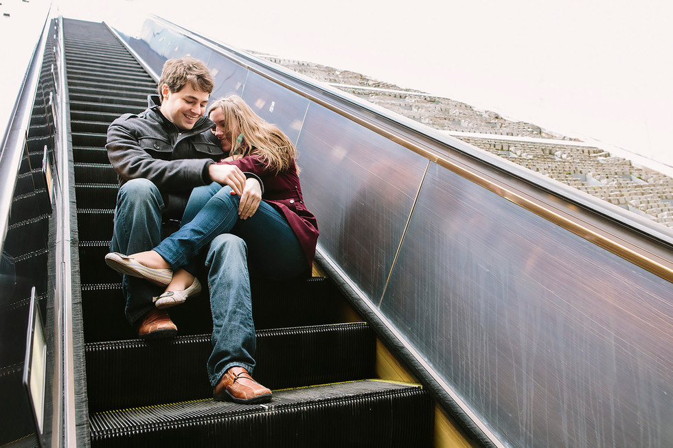 Metro Escalator Engagement Photography