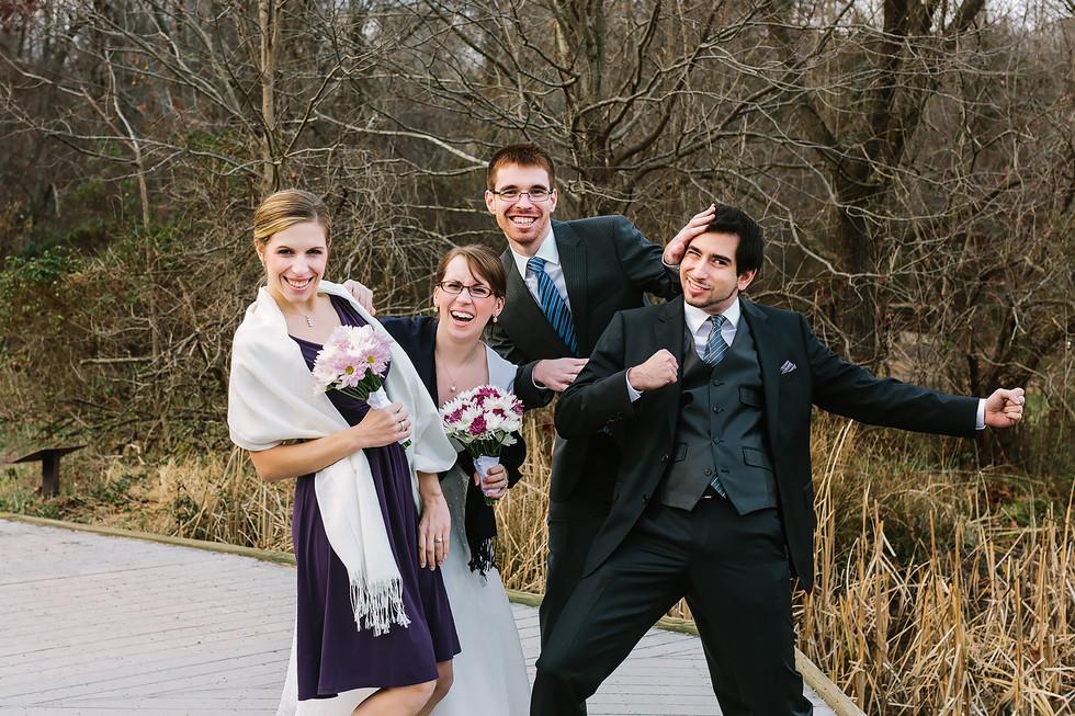 Fun Bride & Groom Portrait with Wedding Party