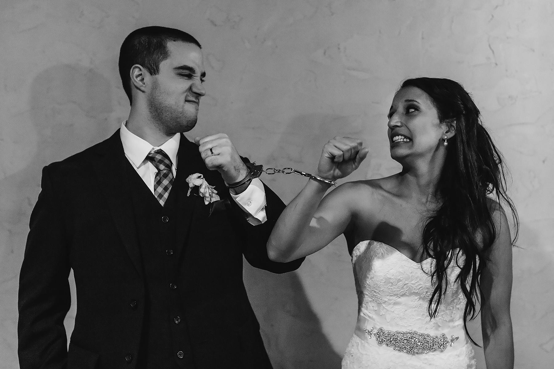 Bride & Groom Handcuffed