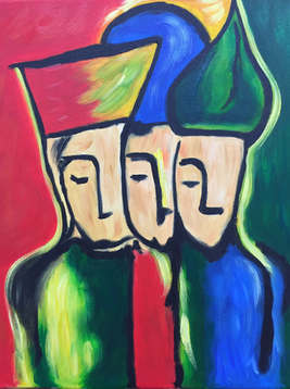 Three Kings Abstract Faces