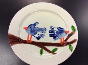 Hand print Bird plate