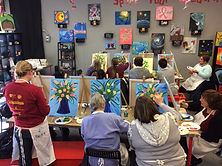 Paint Night Canvas painting flowers Spring Party Hot Fired Arts Frederick MD
