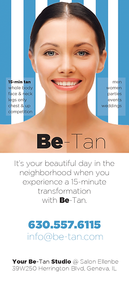 Call Be-Tan for the Best In Airbrush Custom Spray Tans today: 630.557.6115