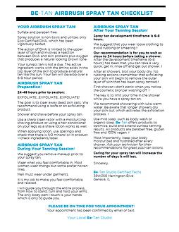 Be-Tan Pre-Tan & Post-Tan Checklist