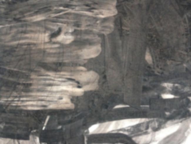 Abstract charcoal wall drawing
