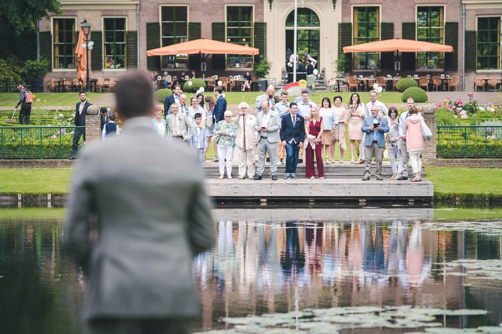 Bruidegom wacht op de bruid voor first look @Het Heerenhuys Rotterdam