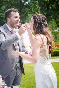 Bruidspaar en het taart aansnij moment @Het Heerenhuys Rotterdam