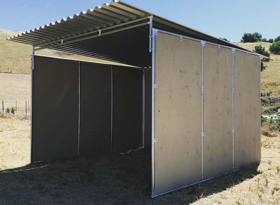 3 sided shelter with 2' roof extension on front