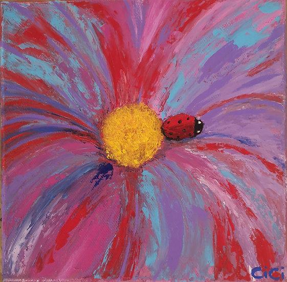 'Ladybug on flower' Acrylic Painting