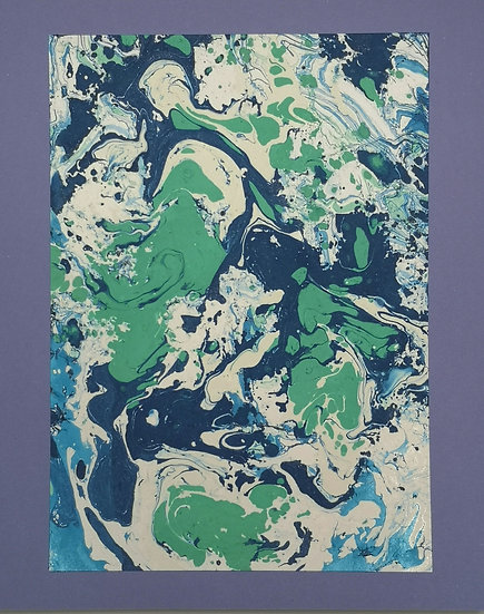 Ink Print: Navy, Blue, Green and White on Lavender card backing