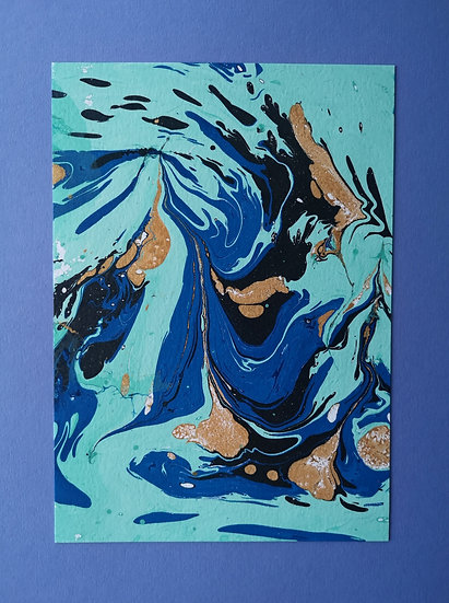 Ink Print: Blue, black and gold on Lavender card