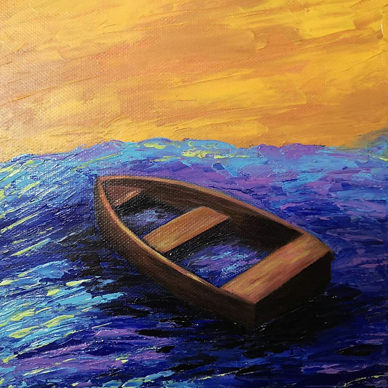 'Sunk' Acrylic rowboat painting flooded with water