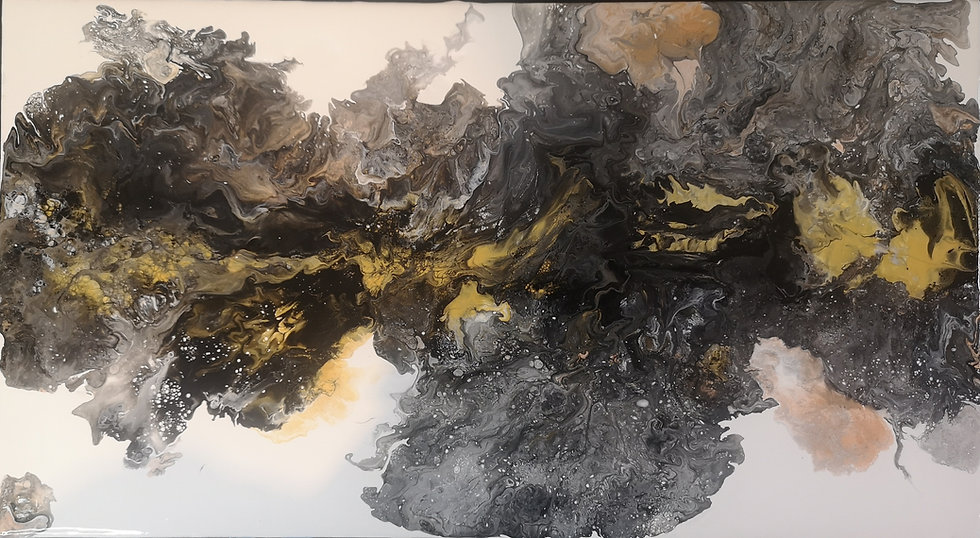 'From the Cosmos' Black, Gold & White Fluid Acrylic Art